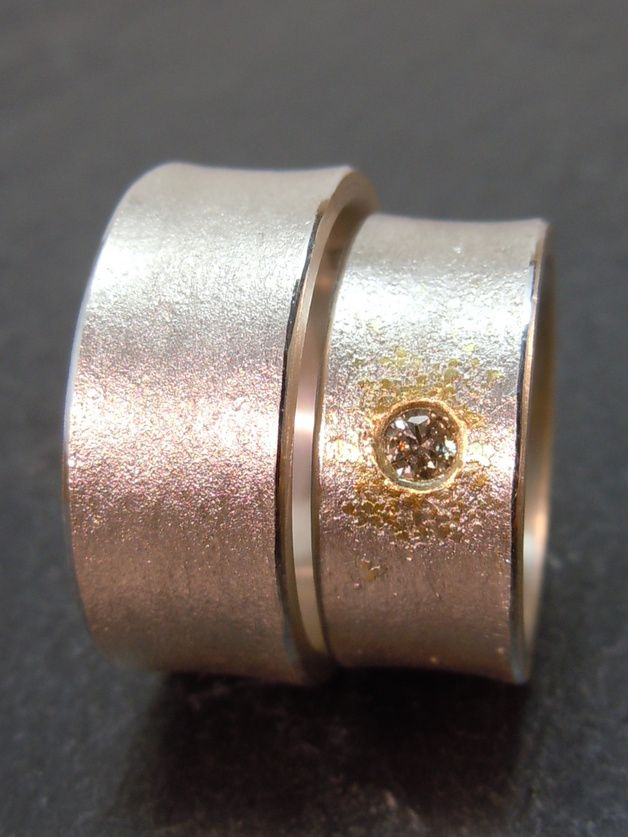 TRAURINGE EHERINGE STARDUST SILBER GOLD DIAMANT SCHLICHT &EDEL