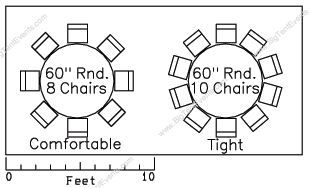 Elegant The Standard Size Seating Table Is A Round Table, Which Comfortably Seats 8  Guests, But You Can Seat As Many As 10 Per Table. Round Tables Are Easy To  ...