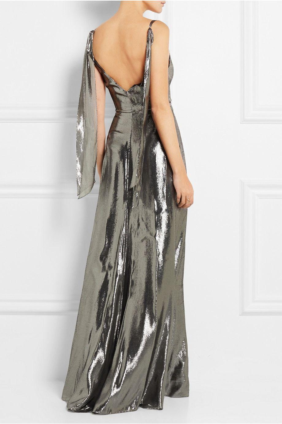 Saint Laurent | Silk-blend lamé gown | NET-A-PORTER.COM