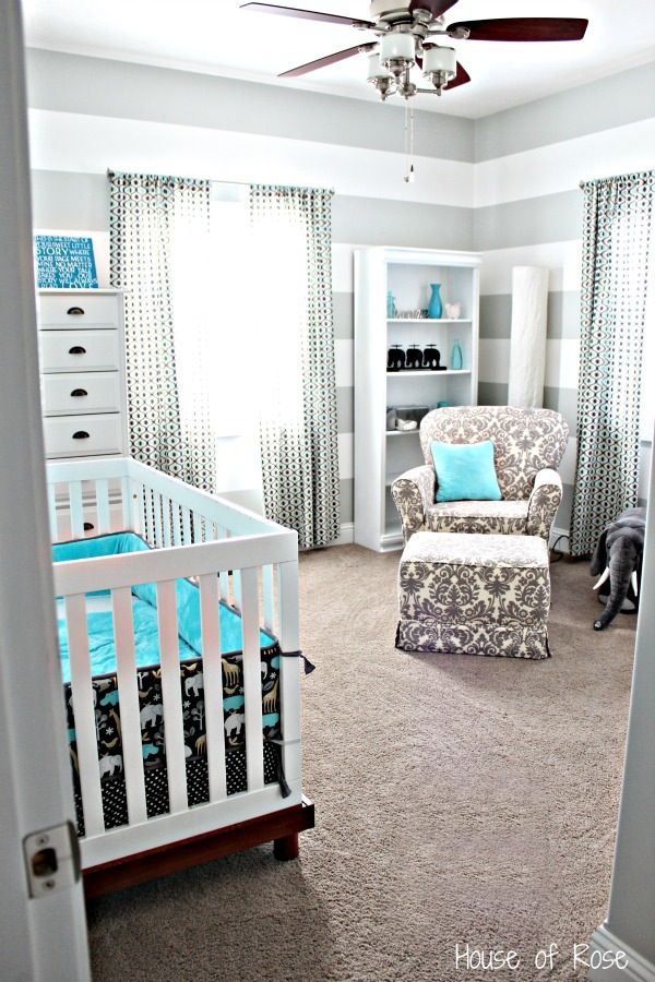 Grey And White Elephant Theme Nursery Room
