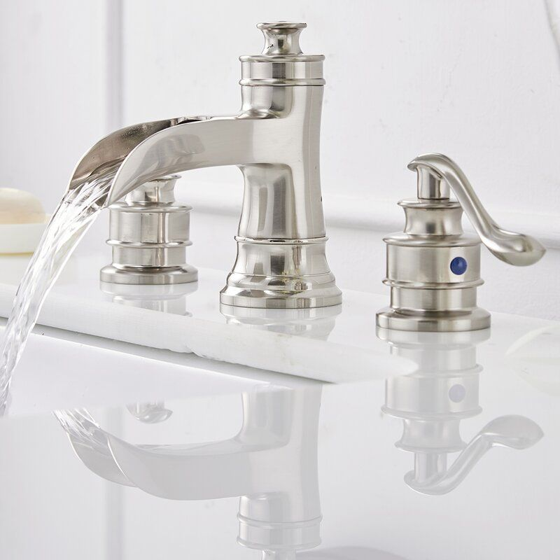 Waterfall Widespread Bathroom Faucet In 2021 Bathroom Faucets Brushed Nickel Bathroom Fixtures Brushed Nickel Widespread Bathroom Faucet