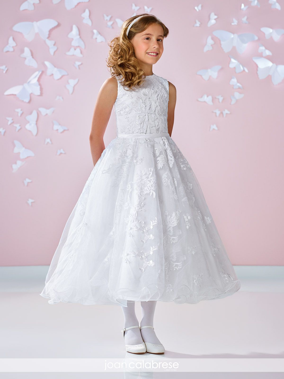 528b53a52e Mon Cheri flower girl style 117334. Color Ivory with A-line dress with  jewel neckline
