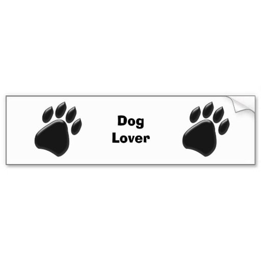 Black paw print bumper sticker