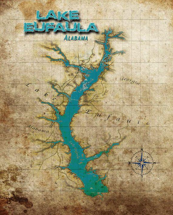 lake eufaula fishing map Vintage Map Of Lake Eufaula Alabama This Would Be A Great Print lake eufaula fishing map