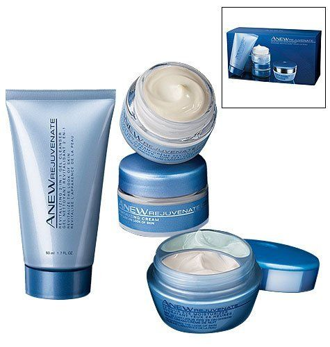 Anew Rejuvenate Skin Revitalizing System Trial/Travel Size by Avon. $23.99. Cleanser 1.7 oz. 24 Hour Eye: SPF25 Sunscreen Day Cream  & Night Cream .33 oz EACH. Day Cream SPF25 .5 oz. Night Cream .5 oz. A $58 value! The REJUVENATE skin care regimen...now in a 4-piece starter kit! Reduces the appearance of fine lines & wrinkles in just 3 days. The 3-step regimen includes: STEP 1 - Cleanse Deep cleanses and purifies. Innovative 2-in-1 gel formula deep-cleans and purifi...
