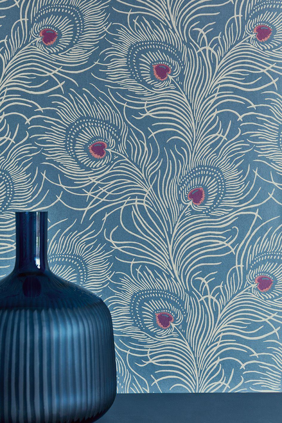 Wallpaper Carlton House Terrace Blue Plume Fireplace