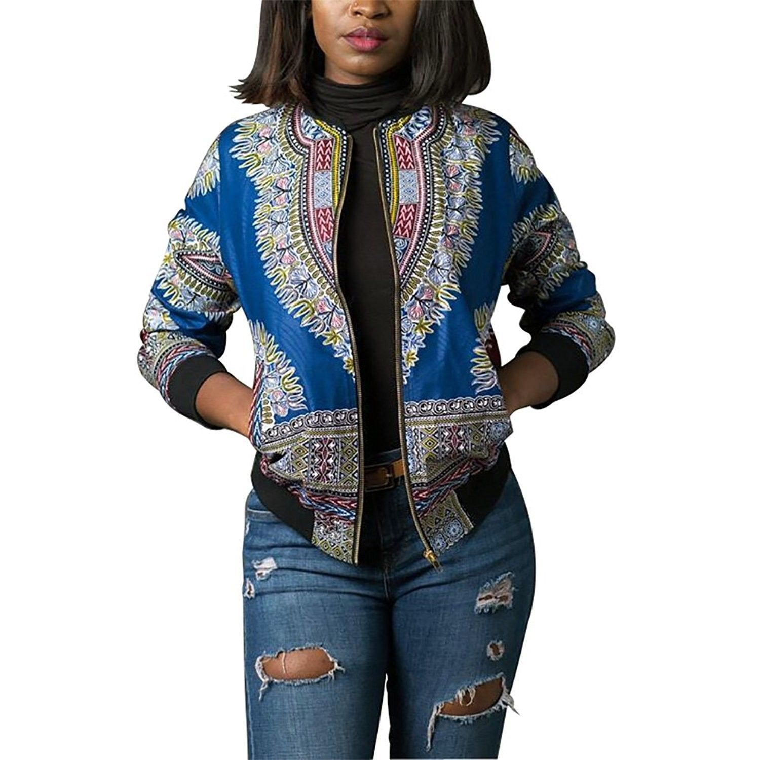 Women's Casual African Print Zipper Dashiki Short Bomber