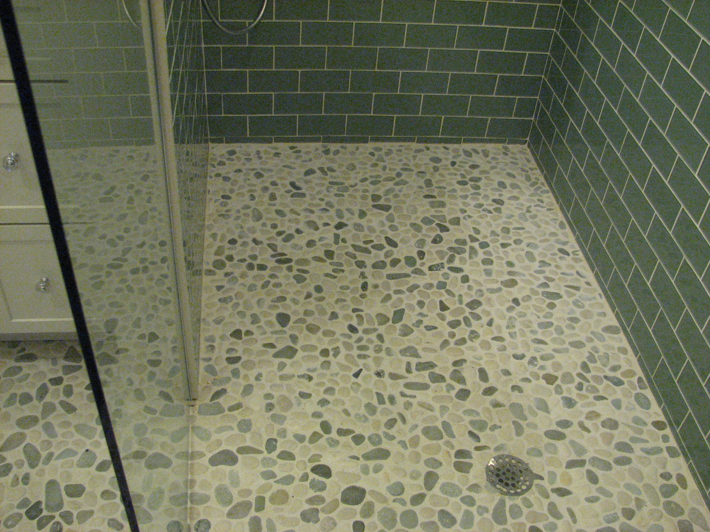 Bathroom: Amazing Bathroom Decoration Using White Pebble Tile Shower Floor  Along With Green Subway Tile Shower Wall And Glass Shower Doors, Wood Tile  Shower ... Part 62
