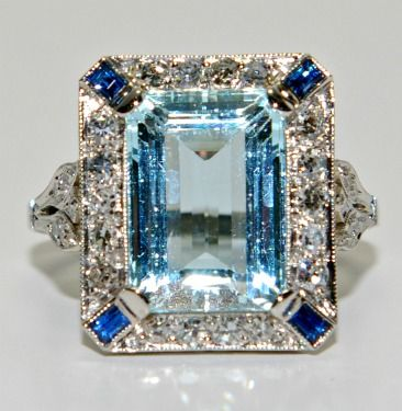 Something Blue? Estate Jewelry--Zundel's Jewelry Aquamarine with diamonds and sapphires. LOVE