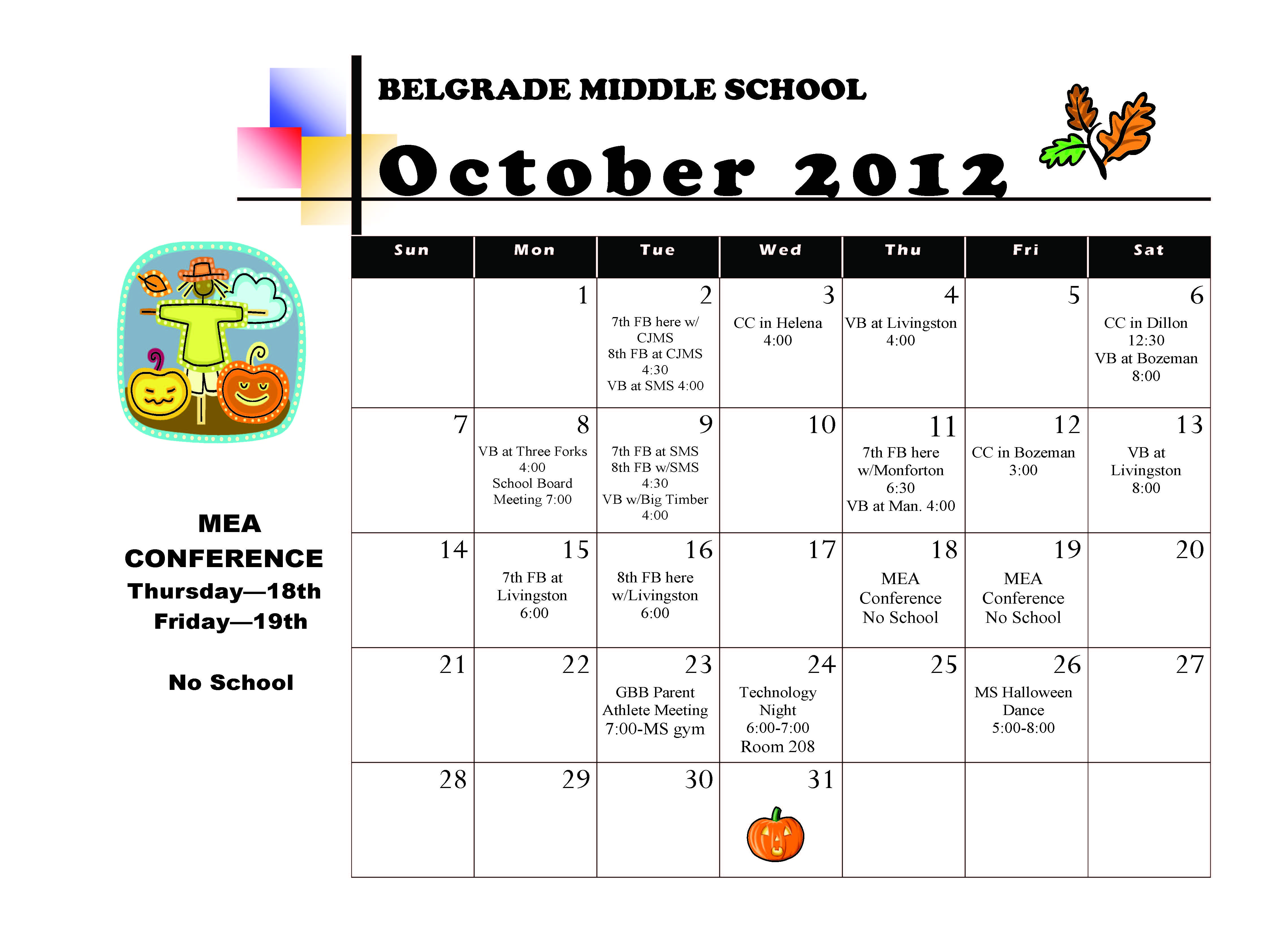 Middle School October Activity Calendar