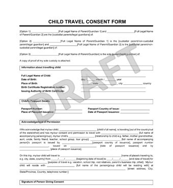 Child Travel Consent Form Create Letter Minors Traveling