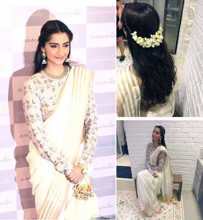 Sonam At Anavila Misra Store Swara Give Sari A Thumbs Up Rediff Com Get Ahead Saree Hairstyles Traditional Hairstyle Indian Wedding Hairstyles