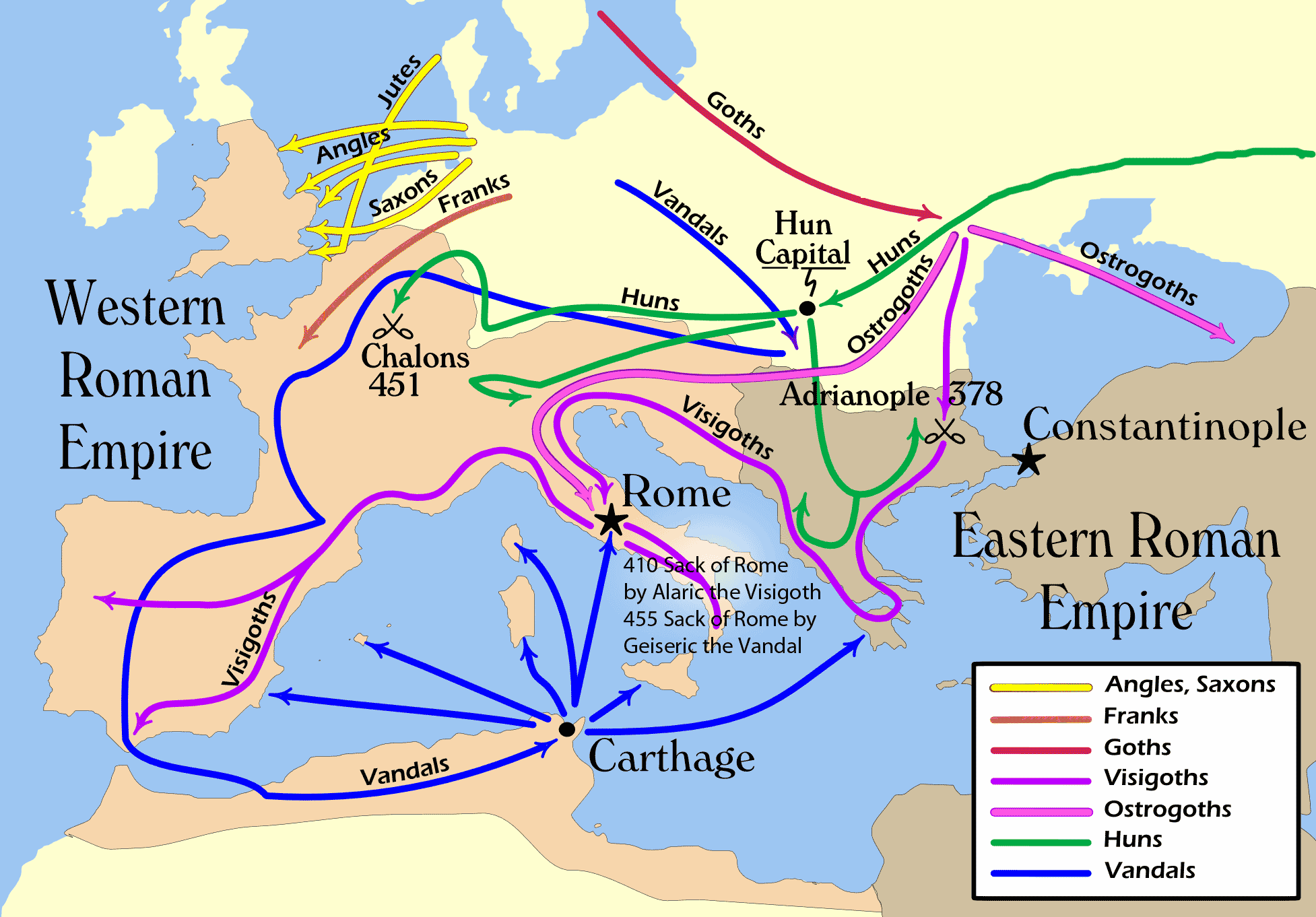 Map Of Western Europe During The 4th And 5th Centuries Ce Is Part Of My Dbq The Fall Of The Roman Empire Roman Empire European History Ancient Rome
