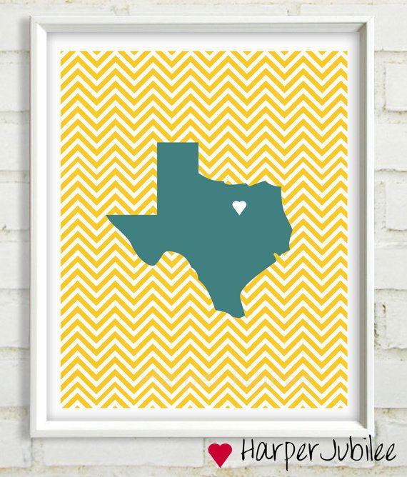Custom State Favorite City Chevron art print 8x10 printable Pick ...