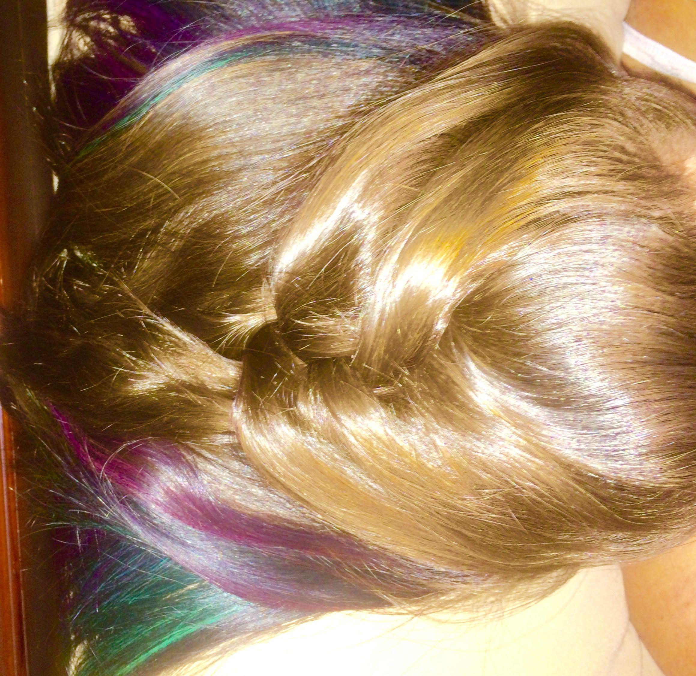 Hidden Highlights Blue Teal Purple Highlights Hair Inspiration
