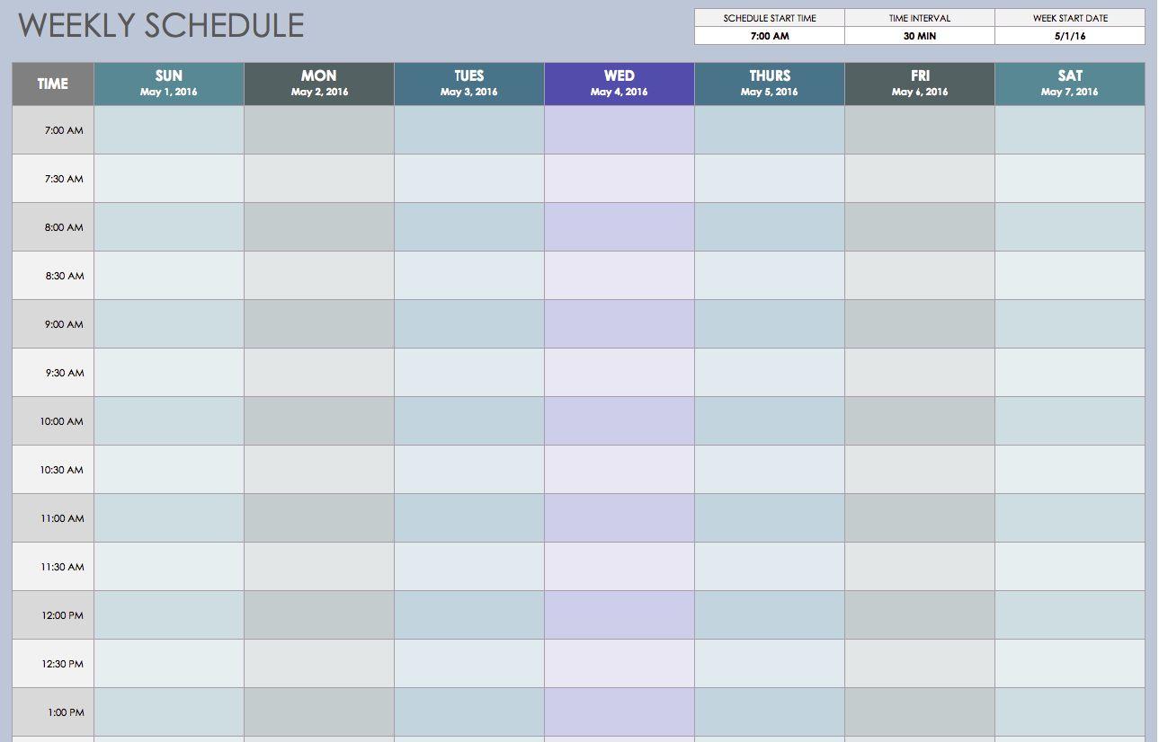 Weekly Schedule Sun thru Sat 30 Min Intervals Weekly