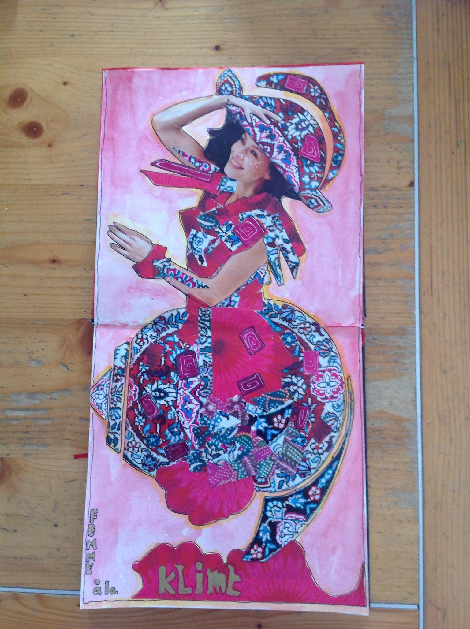Femme a la Klimt! Mozaïek  - collage! Made by Simone