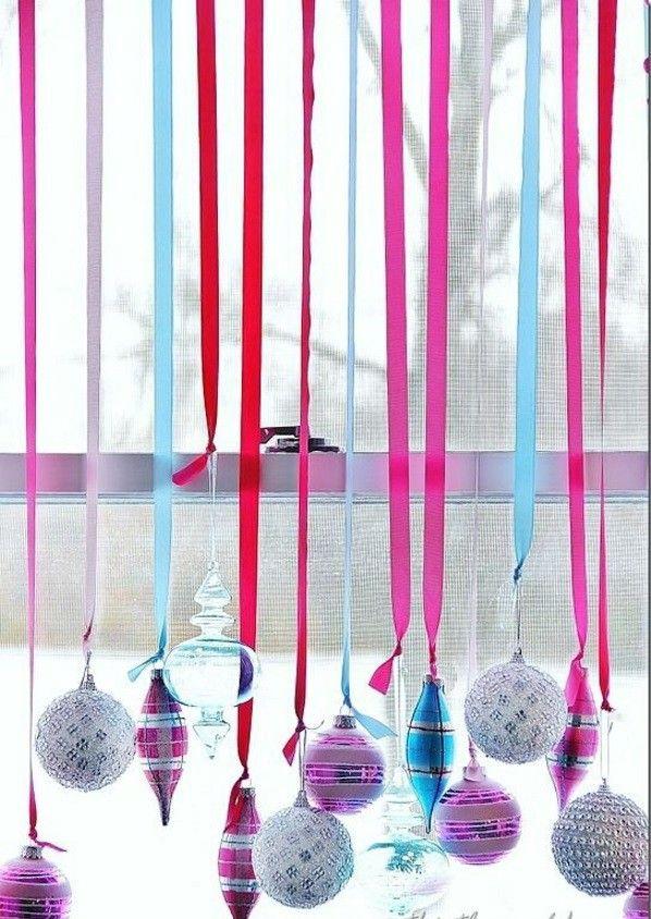 Window Christmas craft ideas decoration Ribbon