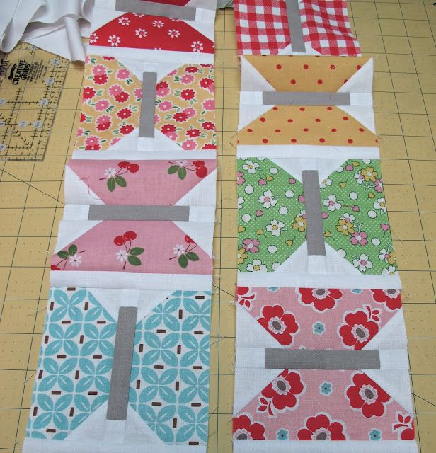 Butterfly block with step by step directions. GREAT website with very detailed instructions and patterns!