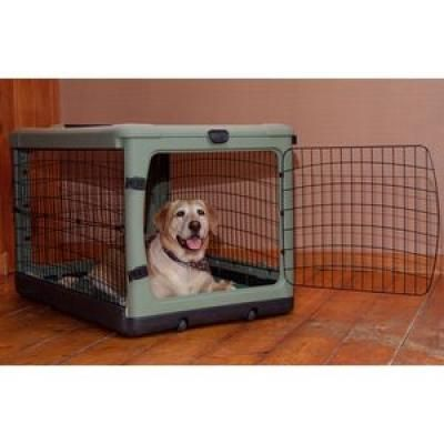 The Other Door Steel Crate With Plush Pad 42 Sage Doggone
