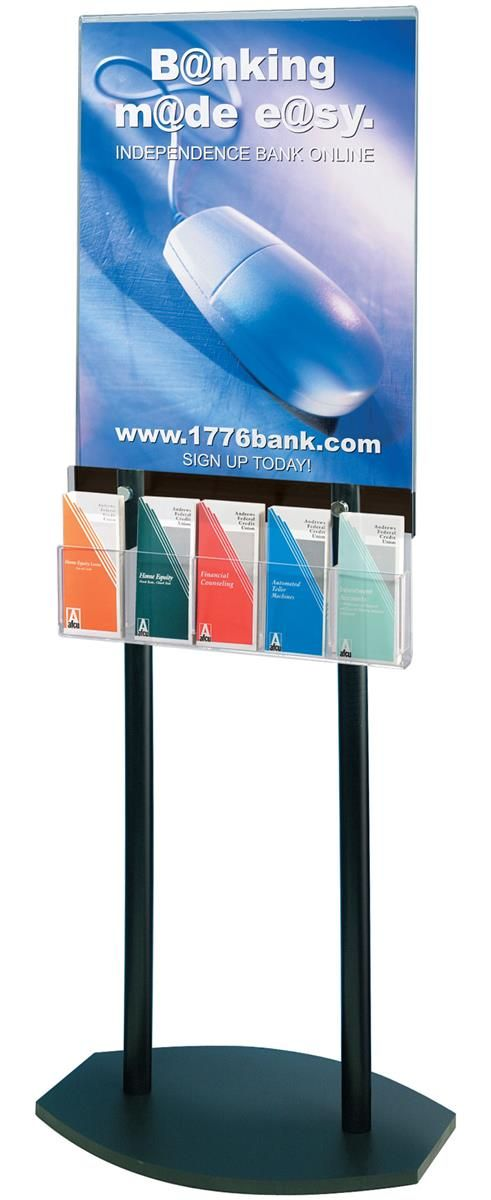 22 X 28 Acrylic Poster Stand With 5 Pocket Brochure Rack Removable Dividers Black