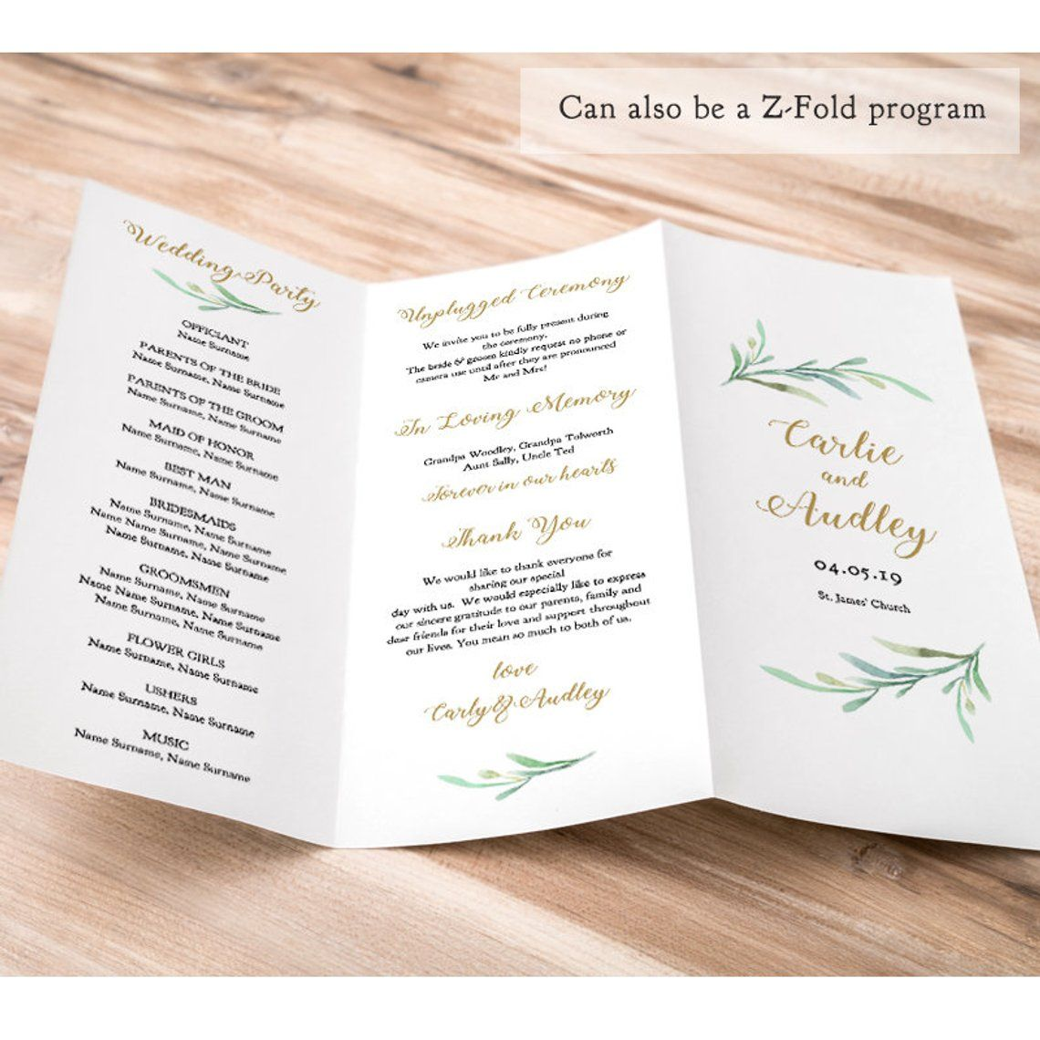 Z fold Trifold Printable Wedding Program Greenery Wedding  Etsy