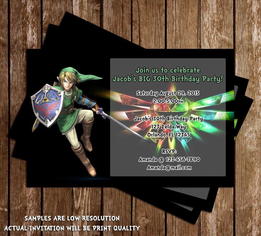 Details About Legend Of Zelda Birthday Party Invitation