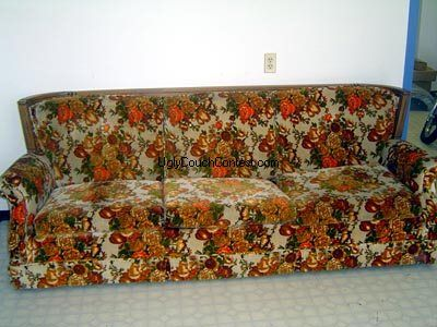 World S Ugliest Couch Contest 2009 Sponsored By Simply Spray Floral Couch Couch Makeover Couch