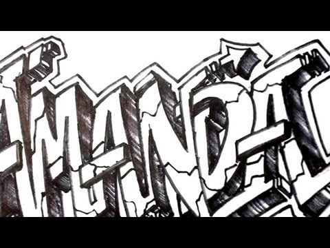 How to Draw Graffiti Letters - Write Amanda in 3D Letters - YouTube