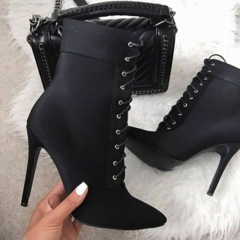 Pointed Toe High Heels Ankle Boots Lace