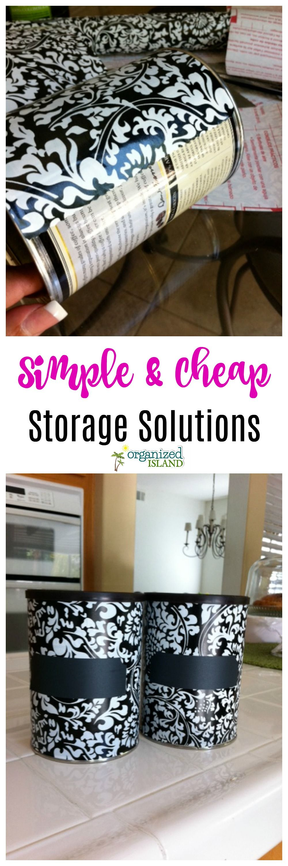 Cheap storage solutions - repurposed coffee cans are perfect for some many things! Easy DIY tutorial.    #DIY #repurpose #coffee #cans #cheap #storage #solutions