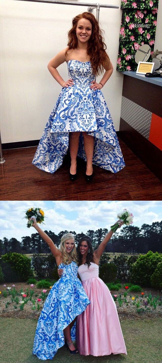 1563d57a4a1e Strapless High Low Blue and White Floral Homecoming Dress
