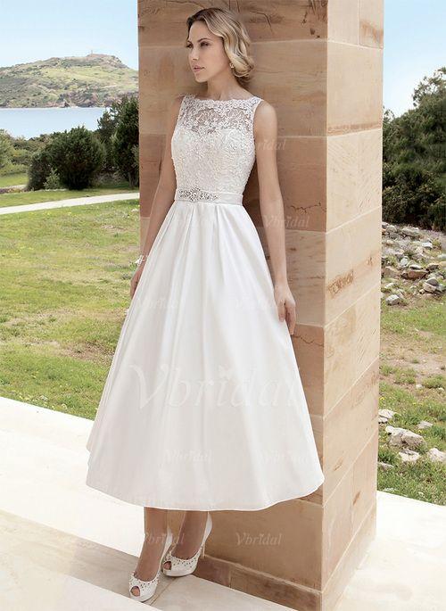 Wedding Dresses - $142.53 - A-Line/Princess Scoop Neck Tea-Length ...