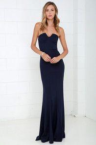 38b7742a3e0 Ladylove Navy Blue Strapless Maxi Dress at Lulus.com!