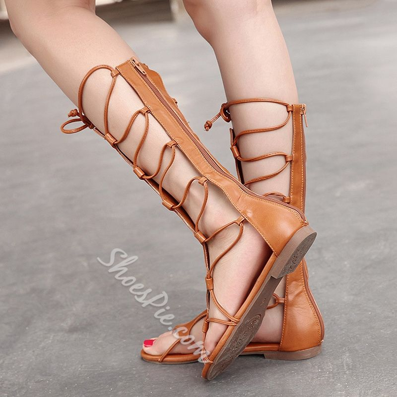 4afacd4166d1 Shoespie Back Zipped Lace Up Gladiator Sandals (SPU  12793655)