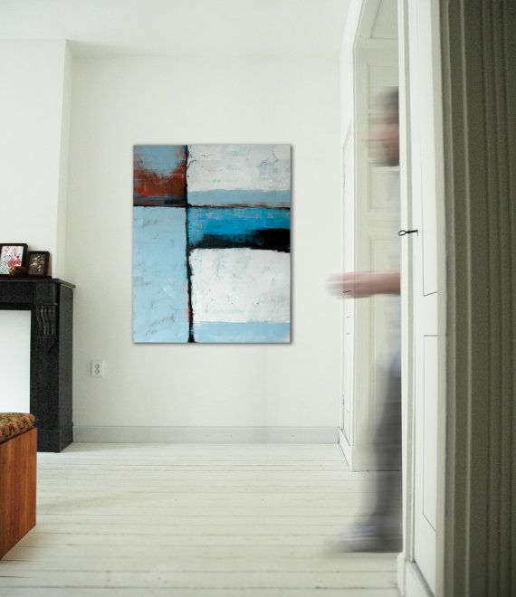 Large abstract painting Famous Blue Acrylic door RonaldHunter, $339 ...