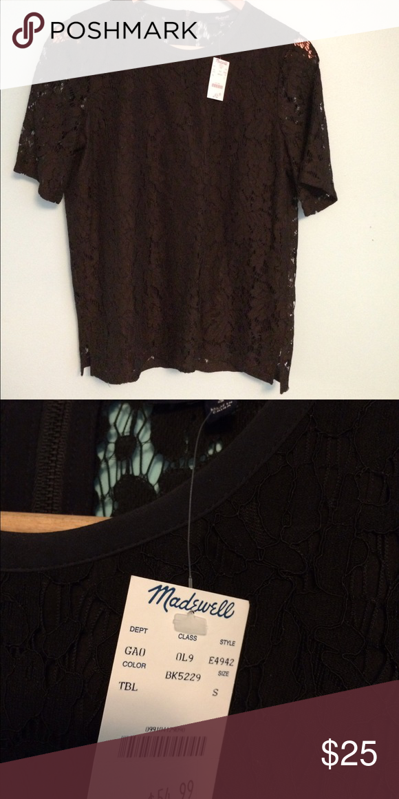 Madewell lace top Sheer back, lined front, zip back lace top. Short sleeve. Madewell Tops Blouses