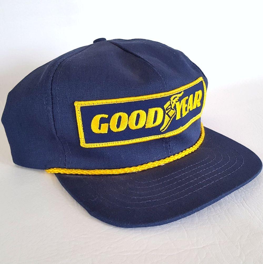 ec512ea98ed17 VTG Goodyear Hat Snapback Patch Cap  1 In Racing Tires Logo Rope Swingster  Blue  Swingster  BaseballCap
