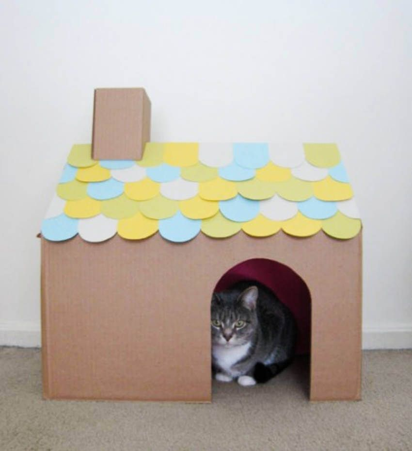 How To Make A Diy Cat Camper Cat House Diy Cardboard Cat House Cat Diy
