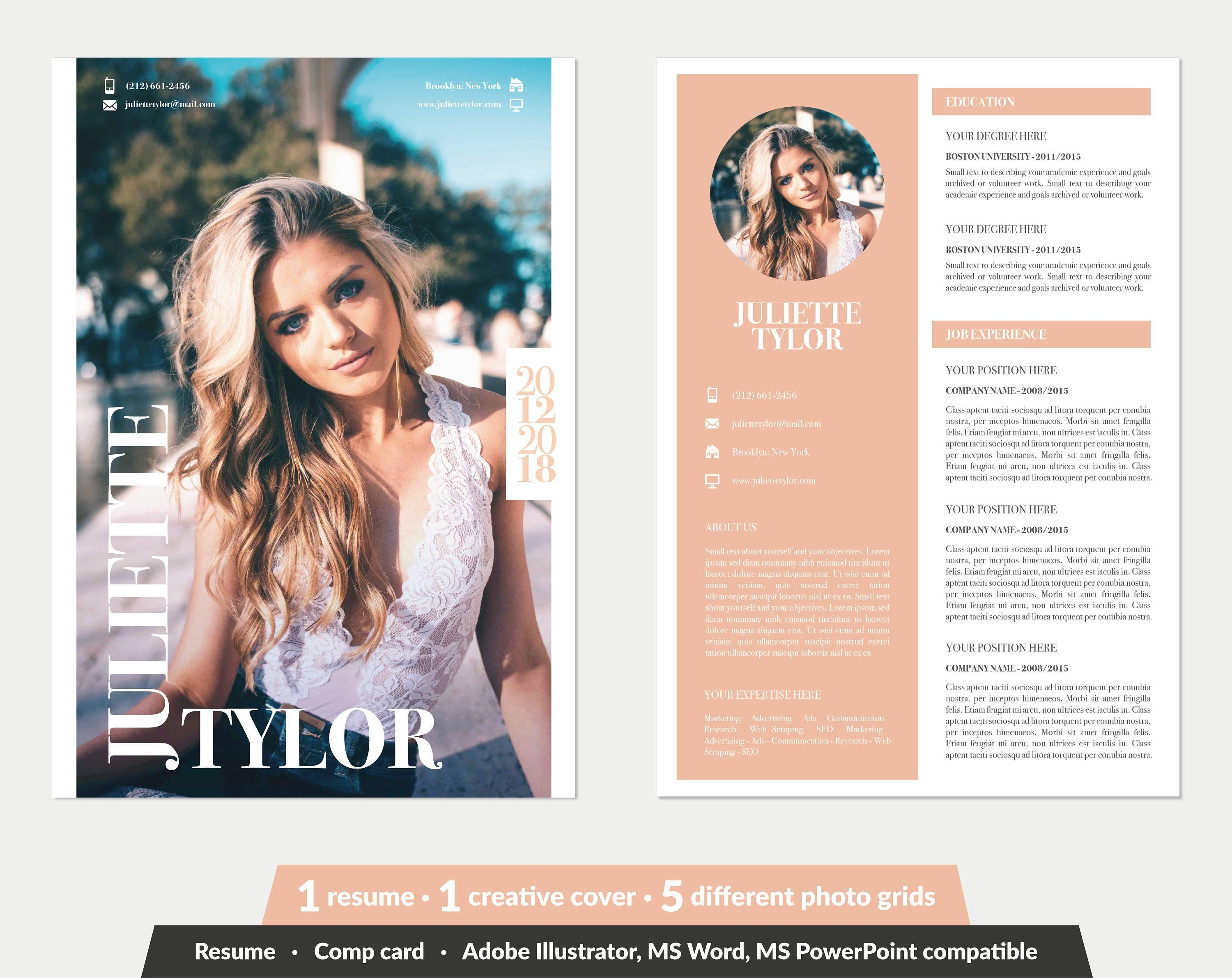 Modeling Comp Card Fashion Model Comp Card Template 5 Different Grid Layout Word Powerpoint Illustrator In Model Comp Card Grid Layouts Card Template
