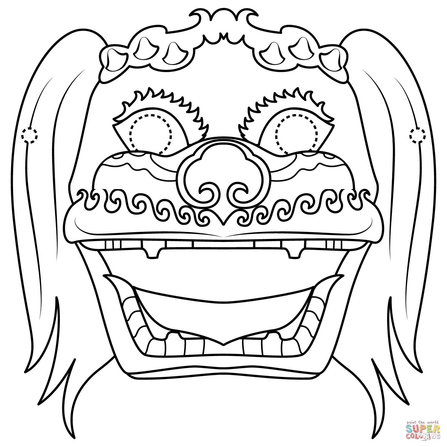 Chinese Lion Dance Mask Coloring Page Free Printable Coloring Pages In 2021 Coloring Pages Dance Coloring Pages Free Printable Coloring Pages
