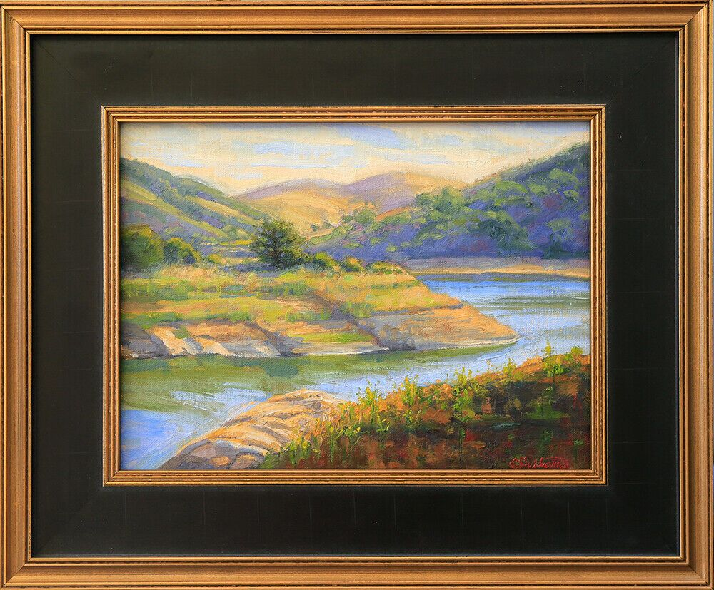 Plein Air Oil Painting, Irvine Lake Afternoon, 9x12 Framed