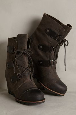Sorel Joan of Arctic Wedge Boots Black Wedges #anthrofave #anthropologie