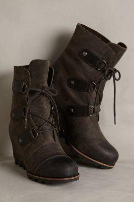 Sorel Joan of Arctic Wedge Boots Black Wedges #anthrofave #anthropologie