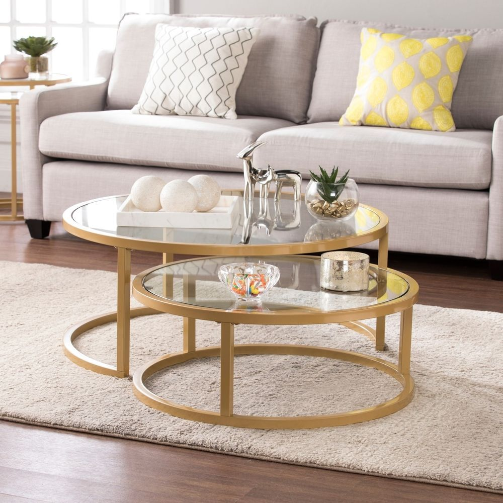Coffee Table Glass 2 Pcs Set Nesting Cocktail Gold Frame Living Room Furniture Silveror Nesting Cocktail Table Living Room Coffee Table Nesting Coffee Tables #round #glass #tables #for #living #room