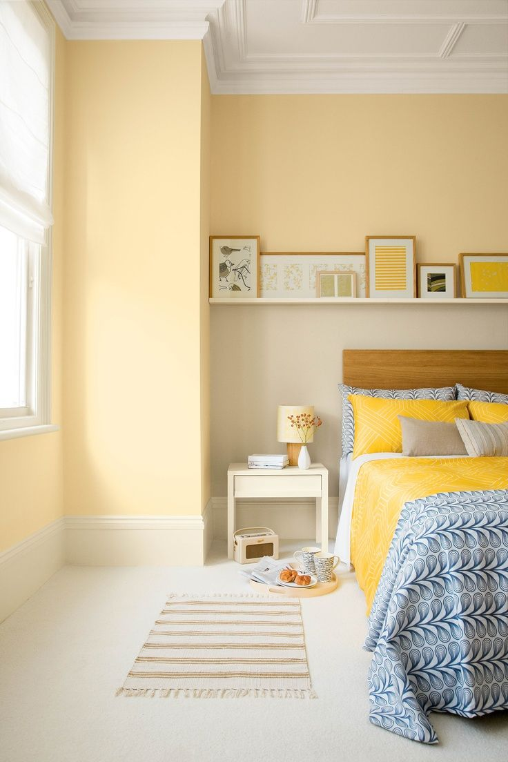 Yellow bedroom painted with Crown matt emulsion in Gentle Yellow ...