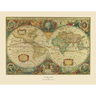 Old World Map Painting Artwork - Extra Large, | Small office spaces ...