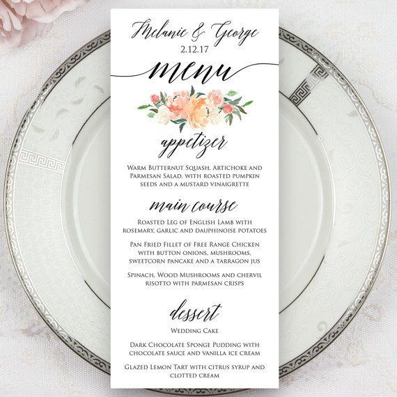 Menu Cards For Wedding Receptions: Wedding Menus Printed Menus Menu Cards Dinner By