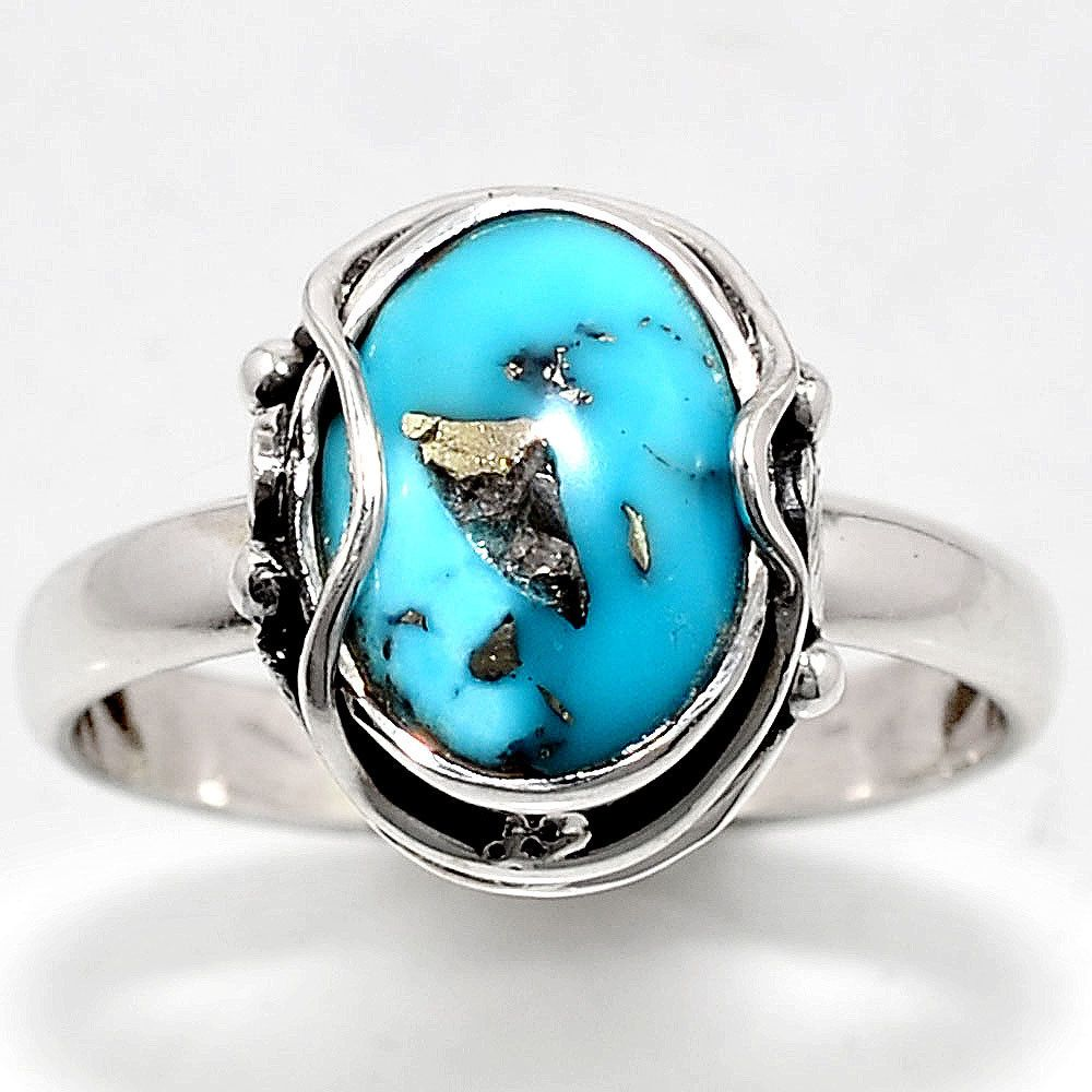 499056a52 Rare Persian Turquoise Pyrite 925 Sterling Silver Ring Jewelry s.9 SDR44102  #Handmade #RingHarness