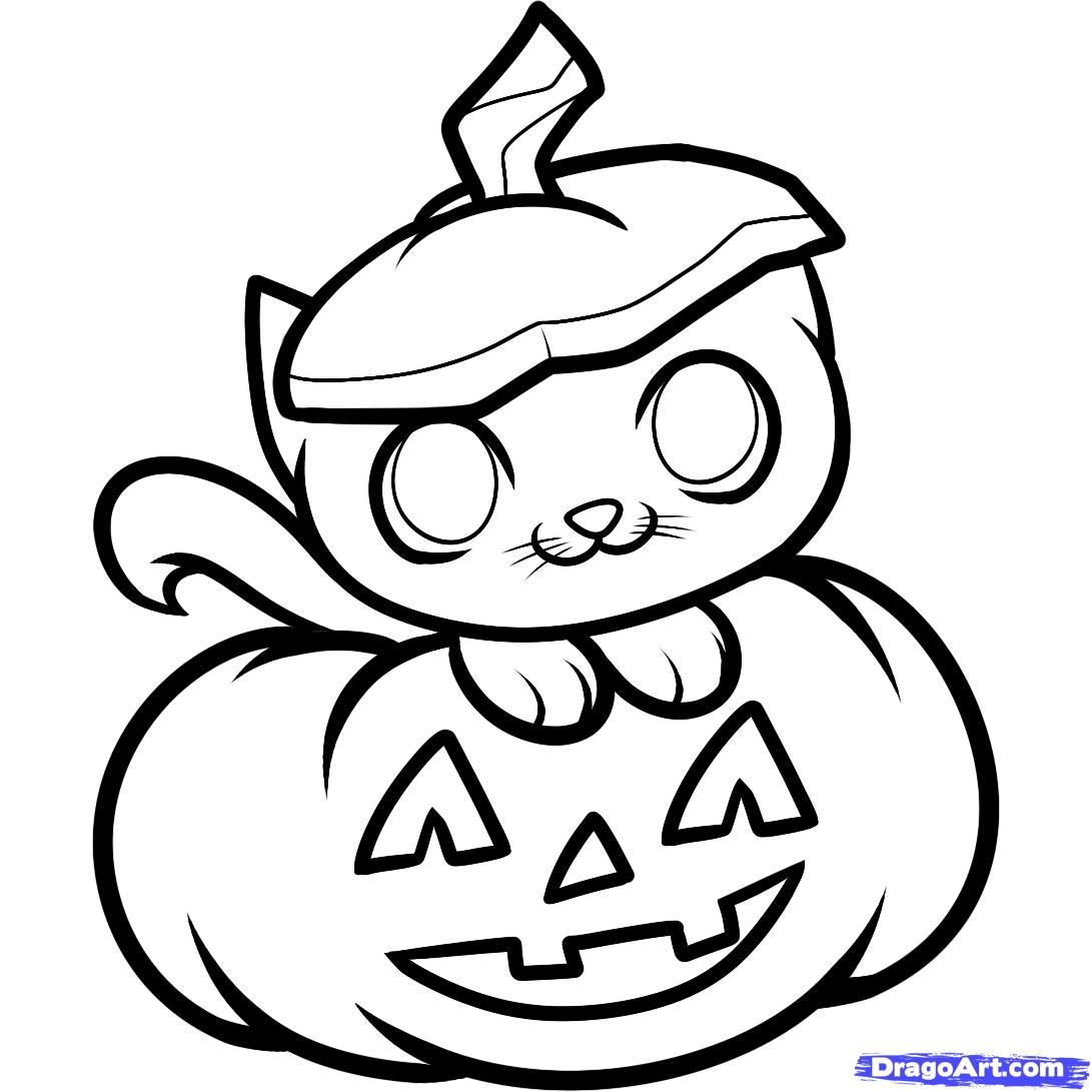How To Draw A Halloween Cat Halloween Cat By Dawn Pumpkin